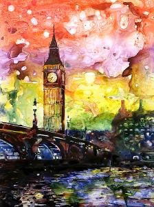 Watercolor Tutorial of Big Ben on YUPO synthetic paper